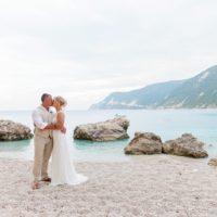 Bride and Groom Kissing on the Beach in Agios Nikitas Lefkada