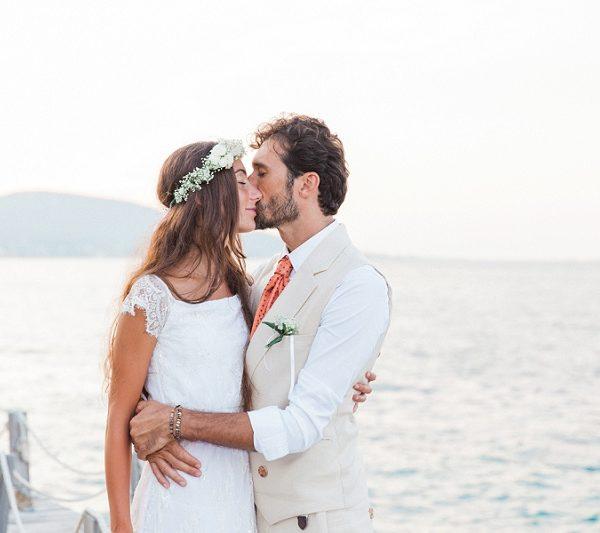 Intimate Portrait of Italian Bride and Groom on Lefkada Greece