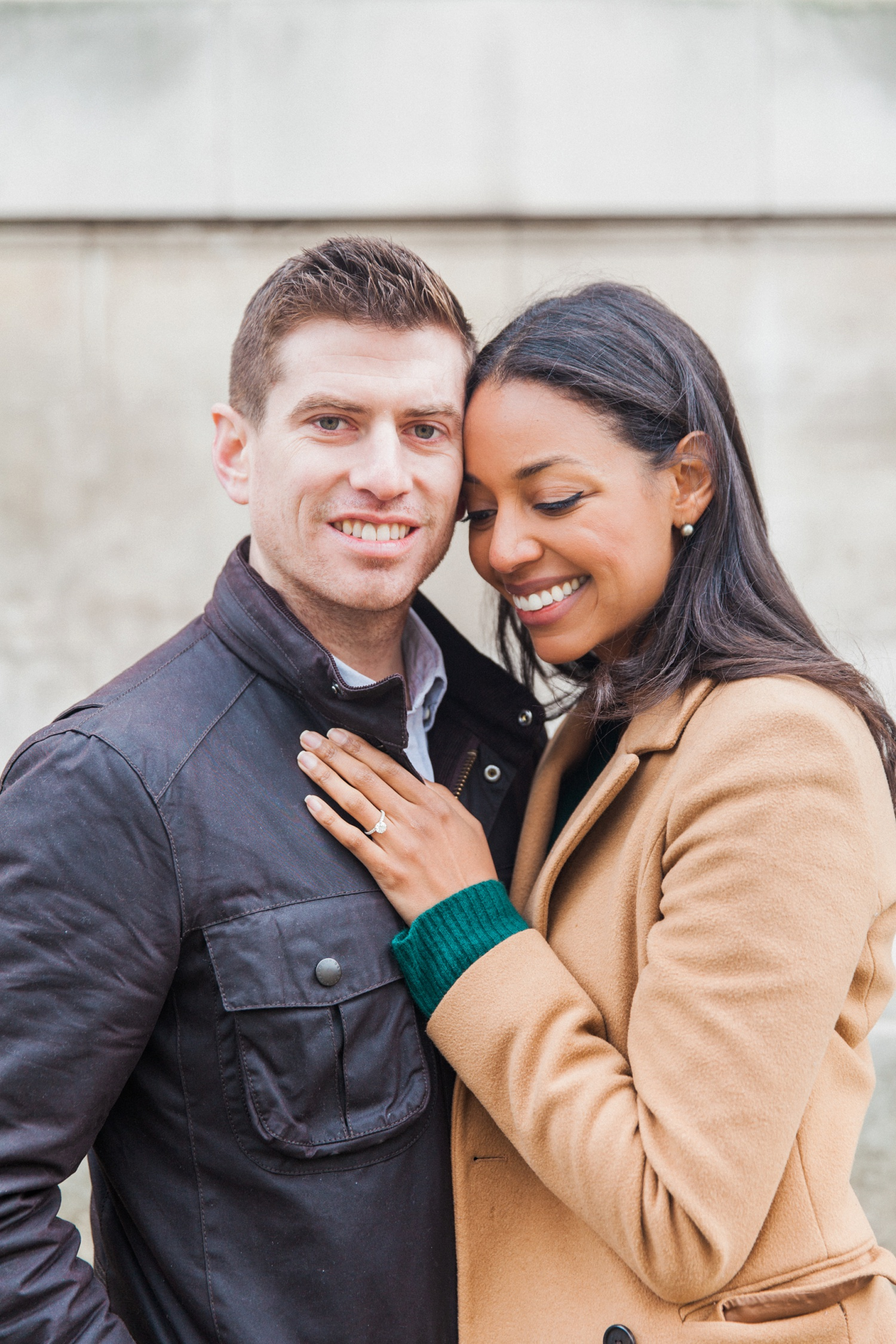 Portrait of a happy couple during their Charlotte Street Hotel Engagement session